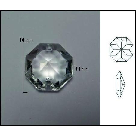 Pieza de cristal de 14*14mm 2 Agujeros