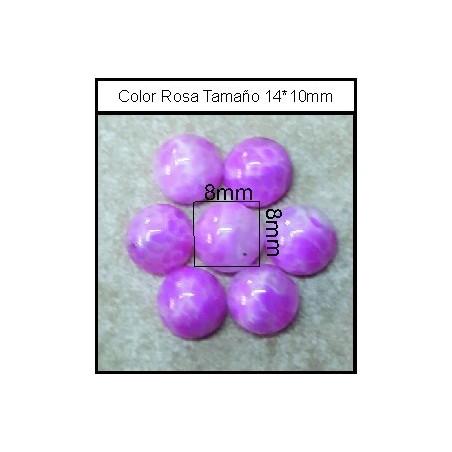 Cabuchón Rosa 8mm (25 Uds)