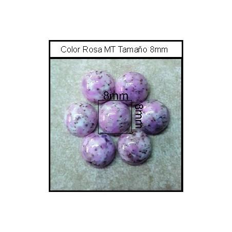 Cabuchón Rosa MT 8 mm(25 Uds)