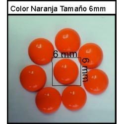 Cabuchón Naranja 6 mm(50 Uds)