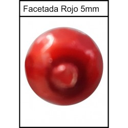 Piedra Facetada Plana Roja 5mm