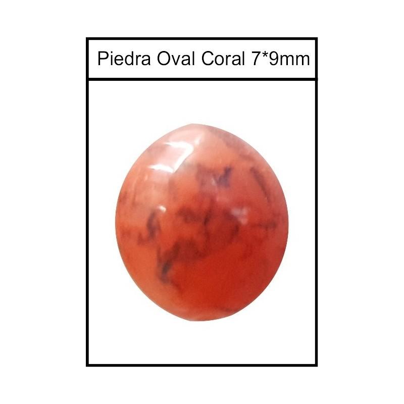 Piedra Ovalada Coral 7*9mm