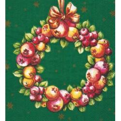 Servilleta decorada Corona navideña