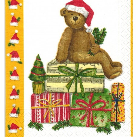 Servilleta decorada Oso Navideño