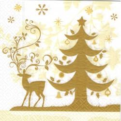 Servilleta decorada Navidad dorada