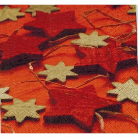 Servilleta decorada Red&Golden stars