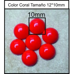 Cabuchón Red Coral 10mm(25 Uds)