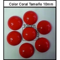 Cabuchón Coral 10 mm(50 Uds)