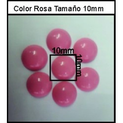 Cabuchón Rosa Chicle 10 mm(50 Uds)