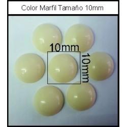 Cabuchón Marfil 10 mm(50 Uds)