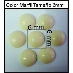 Cabuchón Marfil 6 mm(50 Uds)