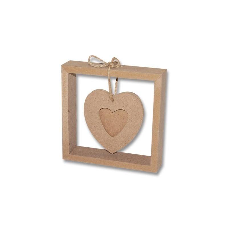 Marco cuadrado con corazón 13 x 13 cm.